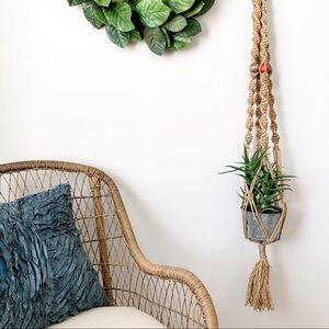 "Jute Macrame Plant Hanger Beaded Cord Large 54"""